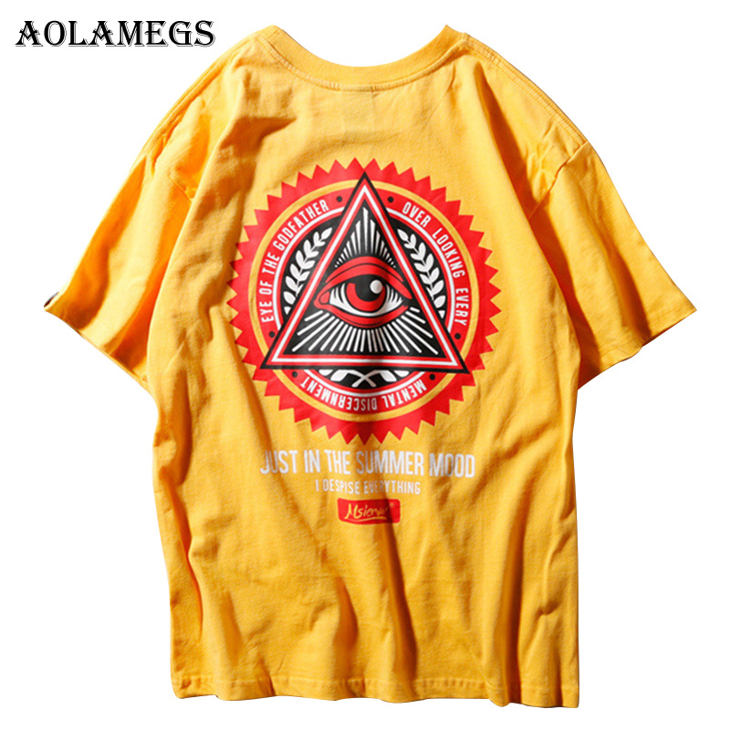 Aolamegs T Shirt Men Eye of Godfather Printed Mens Tee Shirts O-neck T Shirt Cotton Fashion High Street Couple Tees Streetwear