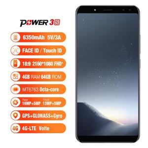 Image 2 - Ulefone güç 3S 4G LTE cep telefonu Android 7.1 MTK6763 Octa çekirdek yüz kimlik parmak izi akıllı telefon 6 inç 4GB + 64GB 6350mAh 16MP