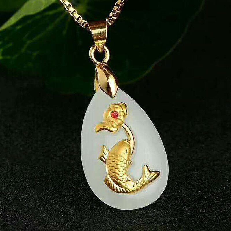 Drop Shipping Hetian Jade Fish Flower Pendant Gold Jade Necklace Lucky Amulet Lovers Jewelry For Men Women Gift