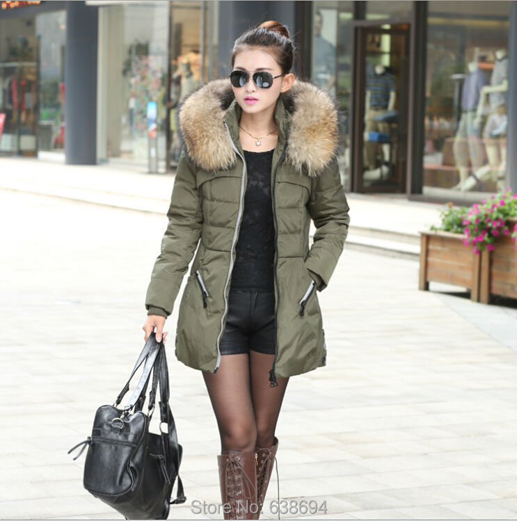 NEW Winter Down Jacket Coat Thicken Slim Female Big Fur Hooded ...