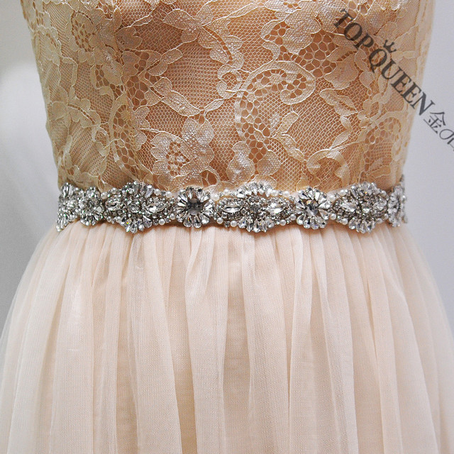 TOPQUEEN S237 Handmade Women's Pearl Beaded Bride Bridesmaid Waistband Wedding Sashes Belts For Evening Party Gown Bridal Dress