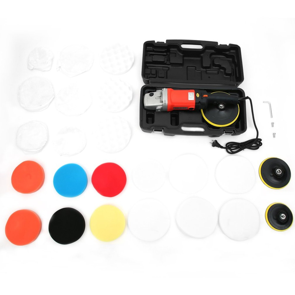 лучшая цена 1500W Professional polishing machine Car Polisher Set Polishing Sponge Pads kit Metal Polishing Tool for Automotive Car