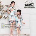 2016 Summer Dress Chinese Style Family Matching Clothes Mom and Daughter Dresses Floral Fashion Baby Girls Outfits