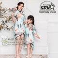 2016 Verão Estilo Chinês Vestido de Correspondência Da Família Roupas Mãe e Filha Vestidos Florais Moda Bebê Meninas Outfits