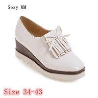 Cunhas plataforma Mulheres Sapatos Flats Deslizar Sobre Mulher Lazer Sapatos Femininos Oxfords Sapatos Casuais Sapatos Plus Size 34-40 41 42 43