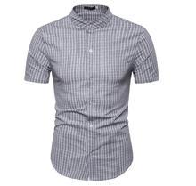 Casual Plaid Shirts Men Stand collar Linen Cotton Mens clothing Social Shirt Blouse Summer New