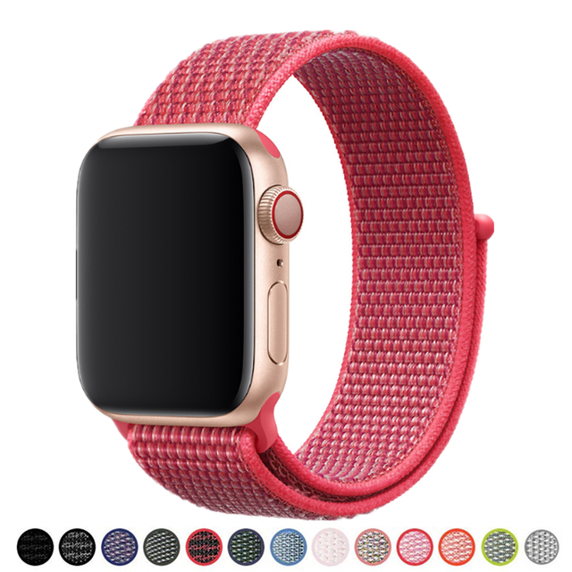 Новый цветной нейлоновый браслет на петле для Apple Watch Band Series 4 40 мм 44 мм 38 мм 42 мм браслет ремешок для iWatch 4 3 2 1 Ремни