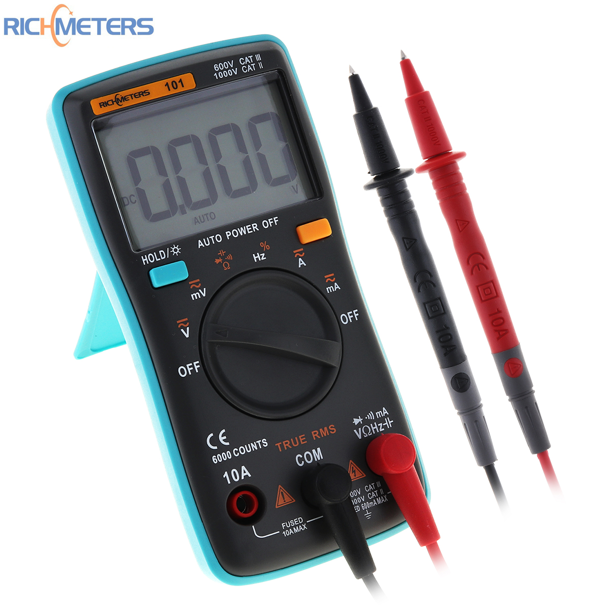 RICHMETERS RM101 Digital Multimeter 6000 Counts AC / DC Ammeter Voltmeter Ohm Portable Meter with Backlight