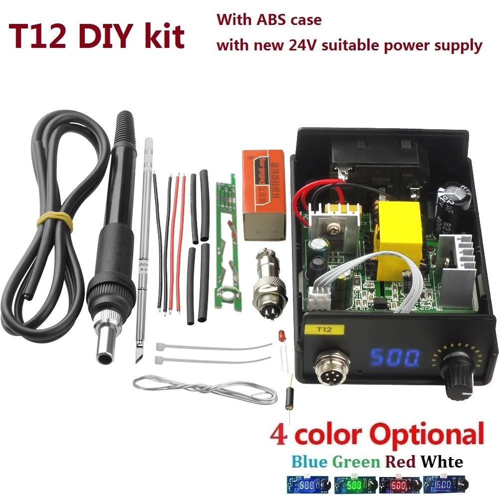 2017 Electric Unit Digital Soldering Iron Station Temperature Controller Kits for HAKKO T12 Handle DIY kits LED vibration switch