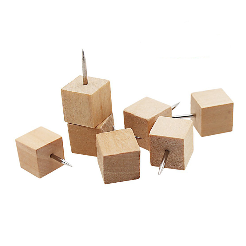 60pcs Square Wood Decorative Push Pins, Wood Head And Steel Needle Point Thumb Tacks For Photos, Maps And Cork Boards