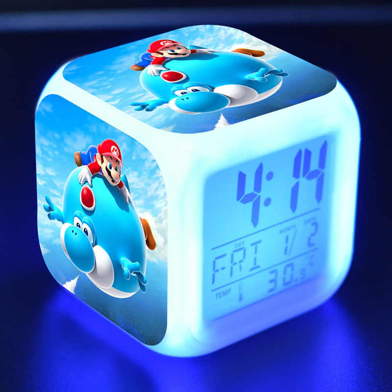 Figurinhas Anime Super Mario Bros Boneca Relógio Termômetro de Alarme LED Coloridos Luz Mario Yoshi Figuras Brinquedos para As Crianças