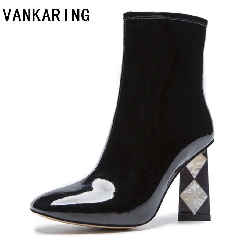 VANKARING autumn winter boots brand pumps patent leather ankle boots rain boots shoes woman solid rubber waterproof snow boots цена