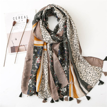 Women Scarf Autumn African Floral Tassel Viscose Scarf Women's Voile Scarf Fashion Lady Long Scarves Soft Shawls Pashmina цена