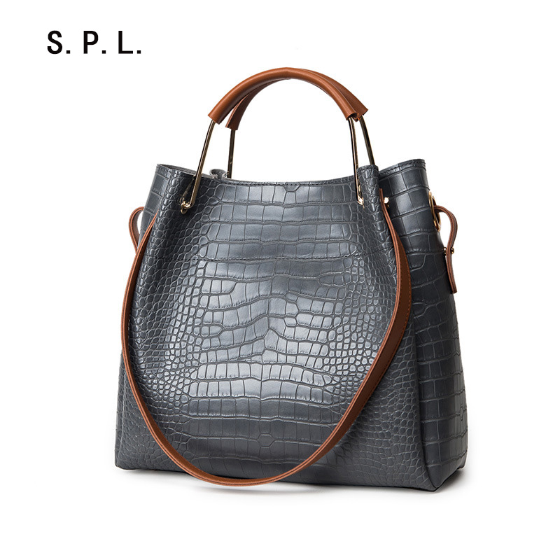 s.p.l. brand korean fashion alligator handbag for women metal pu handle bag mess