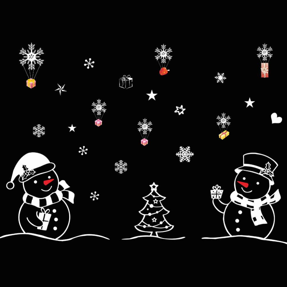 PVC Removable Christmas Tree Snowman Christmas New Year Shop Window Wall Sticker Christmas Decorations Drop Shipping