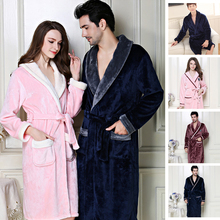 Bath Robe Women Winter Warm Coral Fleece Womens Bathrobe Nightgown Kimono Floral Dressing Gown Sleepwear Female Home Clothes