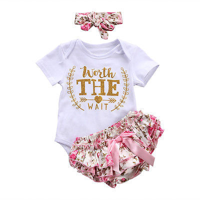"""Baby Girls Letter """"WORTH THE WAIT"""" Bodysuit with Pants and Headband Set"""