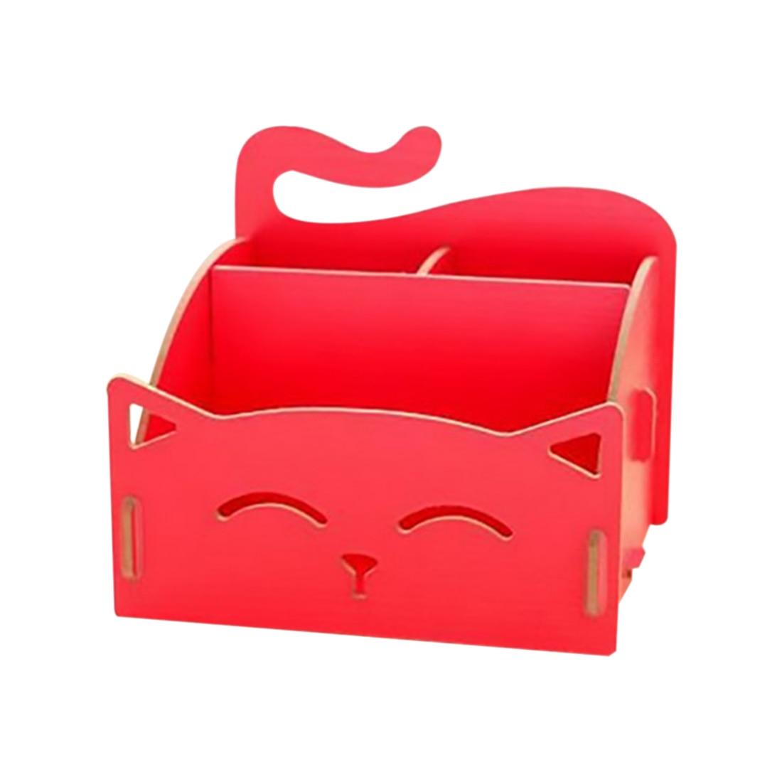 Cat Pen Box Desktop Storage Assembly DIY Wood Makeup Organizer Cosmetics Storage Box 15.4*13*13.5cm(watermelon red)