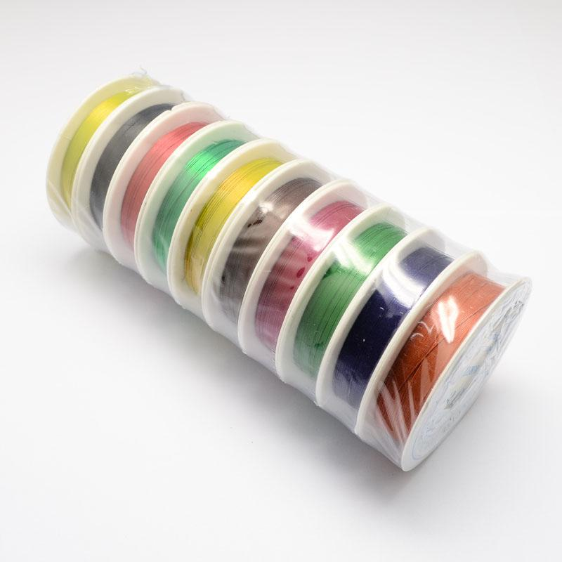0,5mm Mischfarbe Tiger Tail Schmuckdraht Schmuck Draht String Schmuck Machen Groß über 7 Mt/rolle, 10 Rollen/set