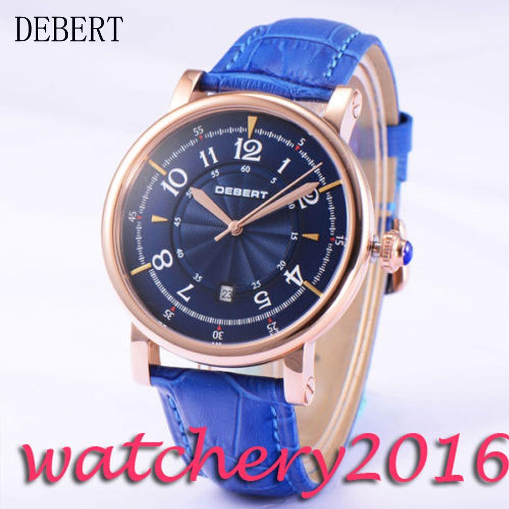 Casual 43mm Debert blue dial rose golden case 21 jewels miyota 8215 Automatic movement men's Watch цена и фото