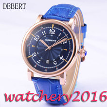 Casual 43mm Debert blue dial rose golden case 21 jewels miyota 8215 Automatic movement men's Watch