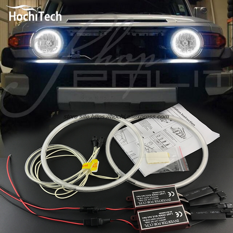 HochiTech WHITE 6000K CCFL Headlight Halo Angel Demon Eyes Kit angel eyes light For Toyota FJ Cruiser 2007 to 2014