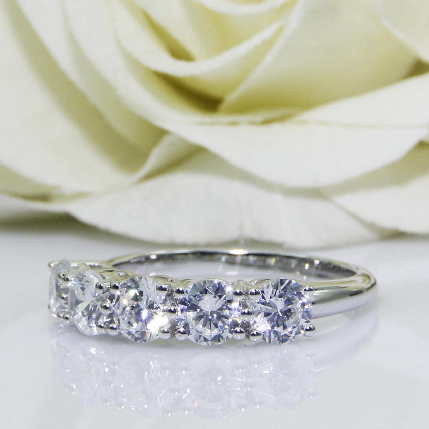 2.0CTW Round Cut DF Color Moissanite Center,14K White Gold Plated, Female Gold Ring,Wedding