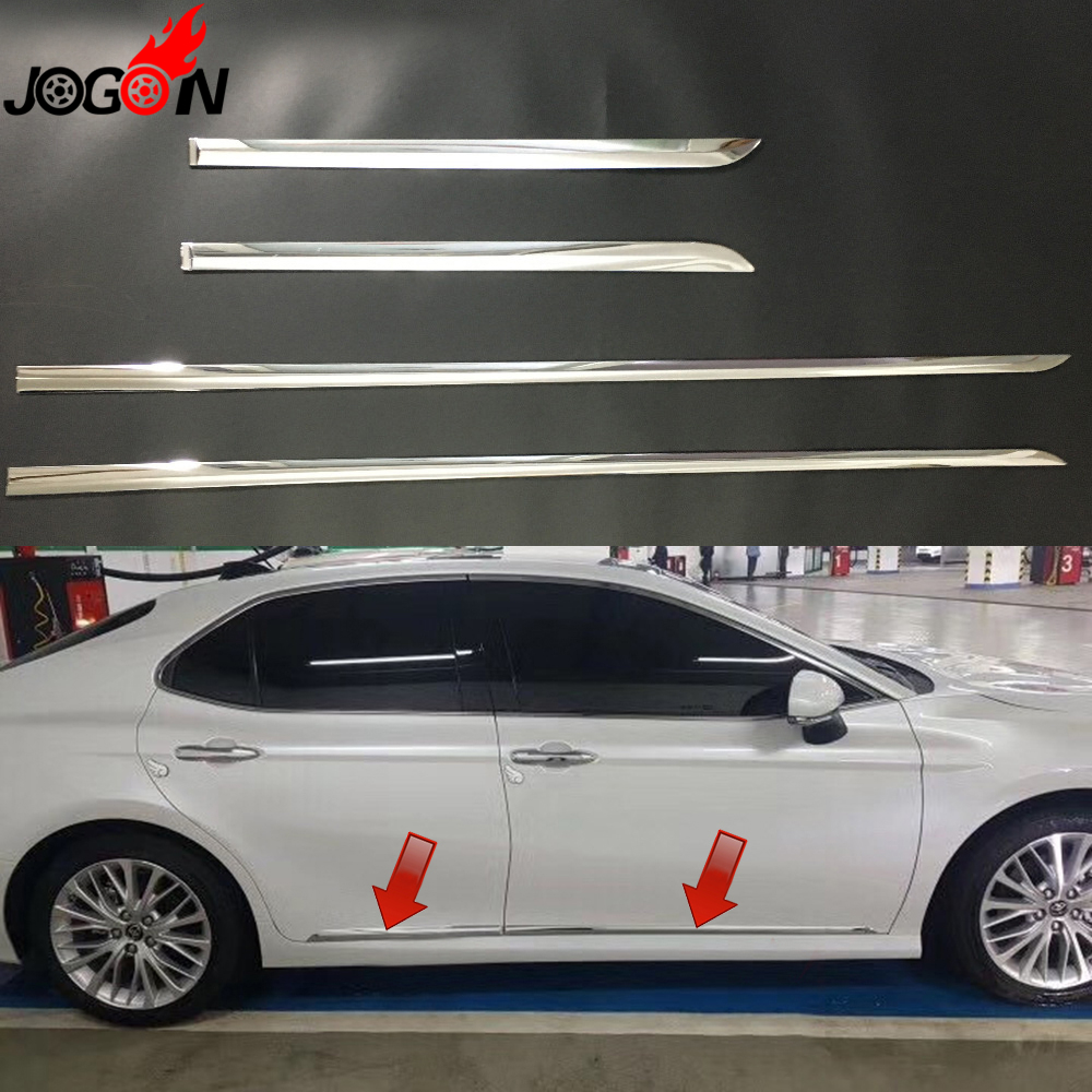 For Toyota Camry XV70 2018 Car Styling ABS Chrome Door Body Side Trim Cover Molding Glossy Silver 4pcs/set car styling abs chrome body side moldings side door decoration for hyundai ix35