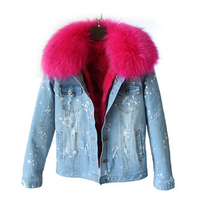 2017 new design high quality warm jeans jacket women winter real fur denim jackets ladies cotton outerwear coats Try everything