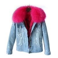 2017 nuovo design di alta qualità caldo jeans giacca donna inverno vera pelliccia giacche di jeans delle signore del cotone cappotti della tuta sportiva Provare tutto