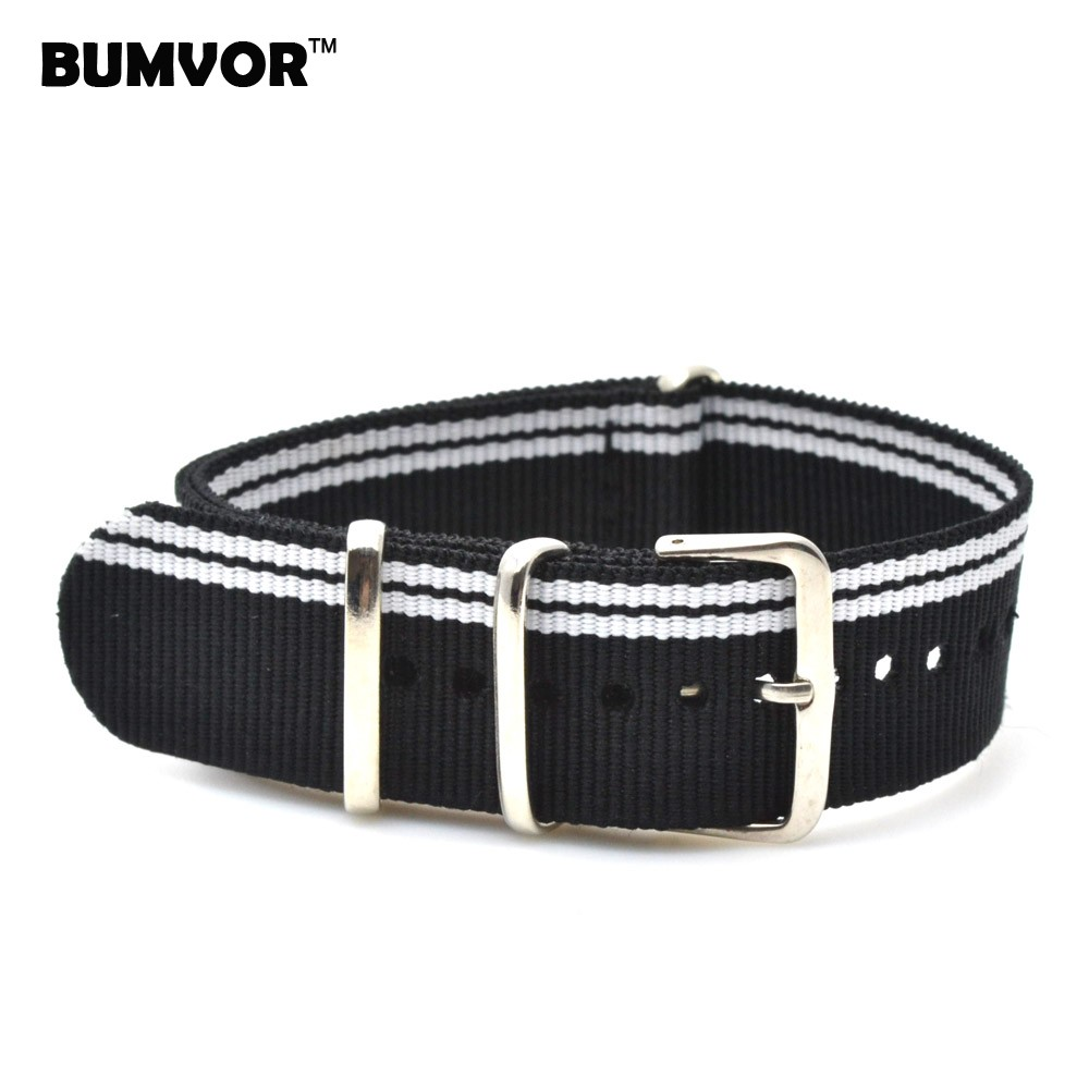New 2018 Watch 22 mm bracelet MultiColor Navy White Army Military nato fabric Woven Nylon watchbands Strap Band Buckle belt 22mm