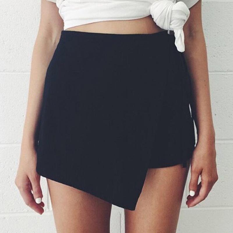 2019 Spring Autumn Irregular Skirts Women Vintage High Waist Slit Skirt Fashion All-Matched Mini Skirts Femme