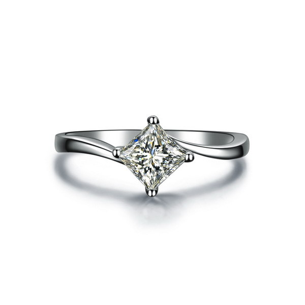 threeman test positive 1ct moissanite twist setting au750 white gold engagement jewelry princess cut solitaire ring