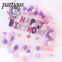 1set Big Unicorn Foil Balloon 16inch Birthday Party Letter Decor DIY Arch Garland Globos Baby Shower 10inch latex Helium balls