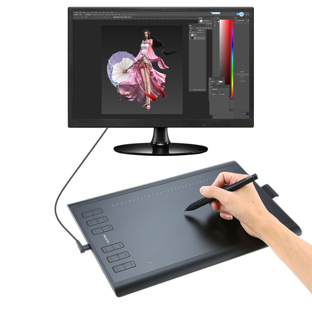 Huion 1060PLUS Graphic Drawing Tablet Micro USB with Built in 8G Memory Card 12 Express Keys