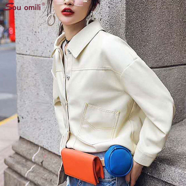 86ae912fda6 Loose Casual Outwear White Blazer Style Faux Leather jacket Women Stitch  Moto Coat casacas para mujer leren jas dames chaqueta