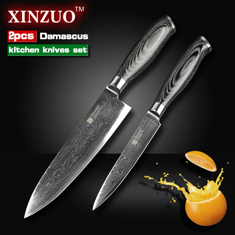 2 pieces kitchen font b knife b font set Japanese 73 layers Damascus steel kitchen font