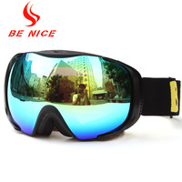 Be Nice Brand Snow Goggle Unisex Skiing Goggle UV400 Detachable Dual Layer Anti Fog Double Lens