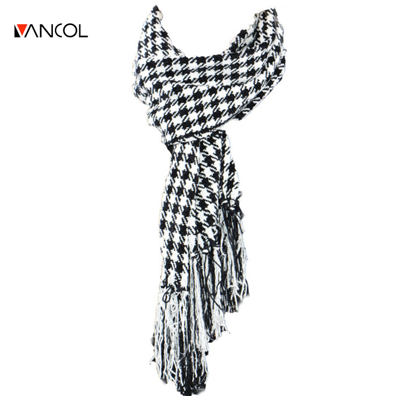 2015 Autumn Cashmere Mens Black White Warm Knitted Wool Plaid Long Thick Women Tassel Glitter Houndstooth
