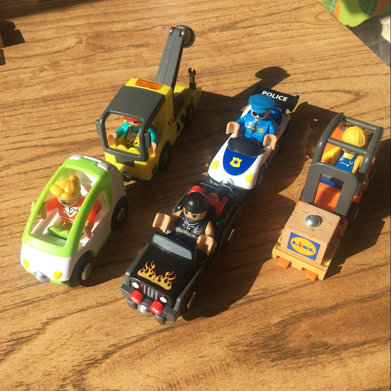 For Wooden Track Brio Track Police Car Trailer Forklift Engineering Car Compatible Magnetic Train For Boys