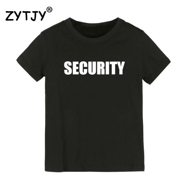 SECURITY Letters Print Kids tshirt Boy Girl t shirt For Children Toddler Clothes Funny Top Tees Drop Ship Y-51