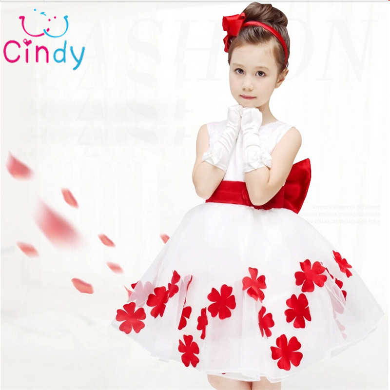 2016 New Elegant Girl Dress Floral Dresses For Girls Sleeveless Clothes White Princess Party Summer Kids
