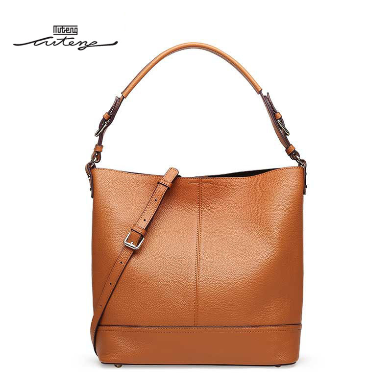 TU-TENG Luxury Handbags Women Bags Designer Female Simplicity Bucket Shoulder Bucket Bag Genuine Leather Fashion Handbags G89880