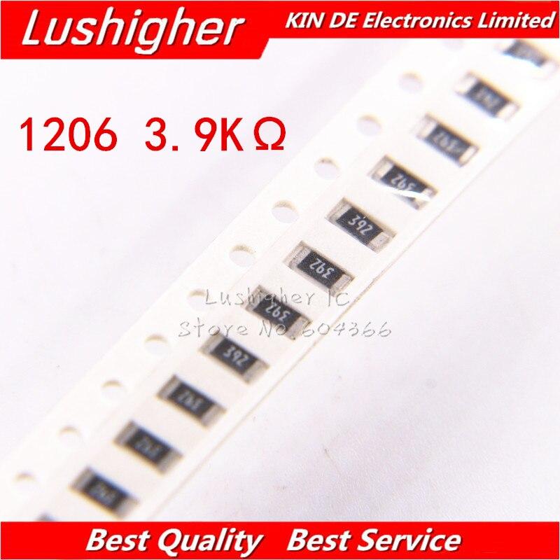 100PCS 1206 SMD Resistor 5% 3.9K Ohm 392 3.9Kohm