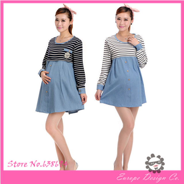 1d119b304 Más el tamaño de maternidad vestidos ropa para mujeres embarazadas moda de  manga larga falso 2