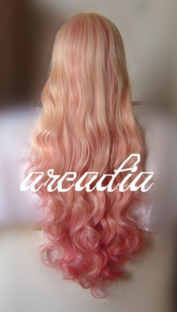 Disfraz de Cosplay Macross F Sheryl Nome largo ondulado Rubio claro Rosa sueño Ombre resistente al calor peluca + pista + gorra