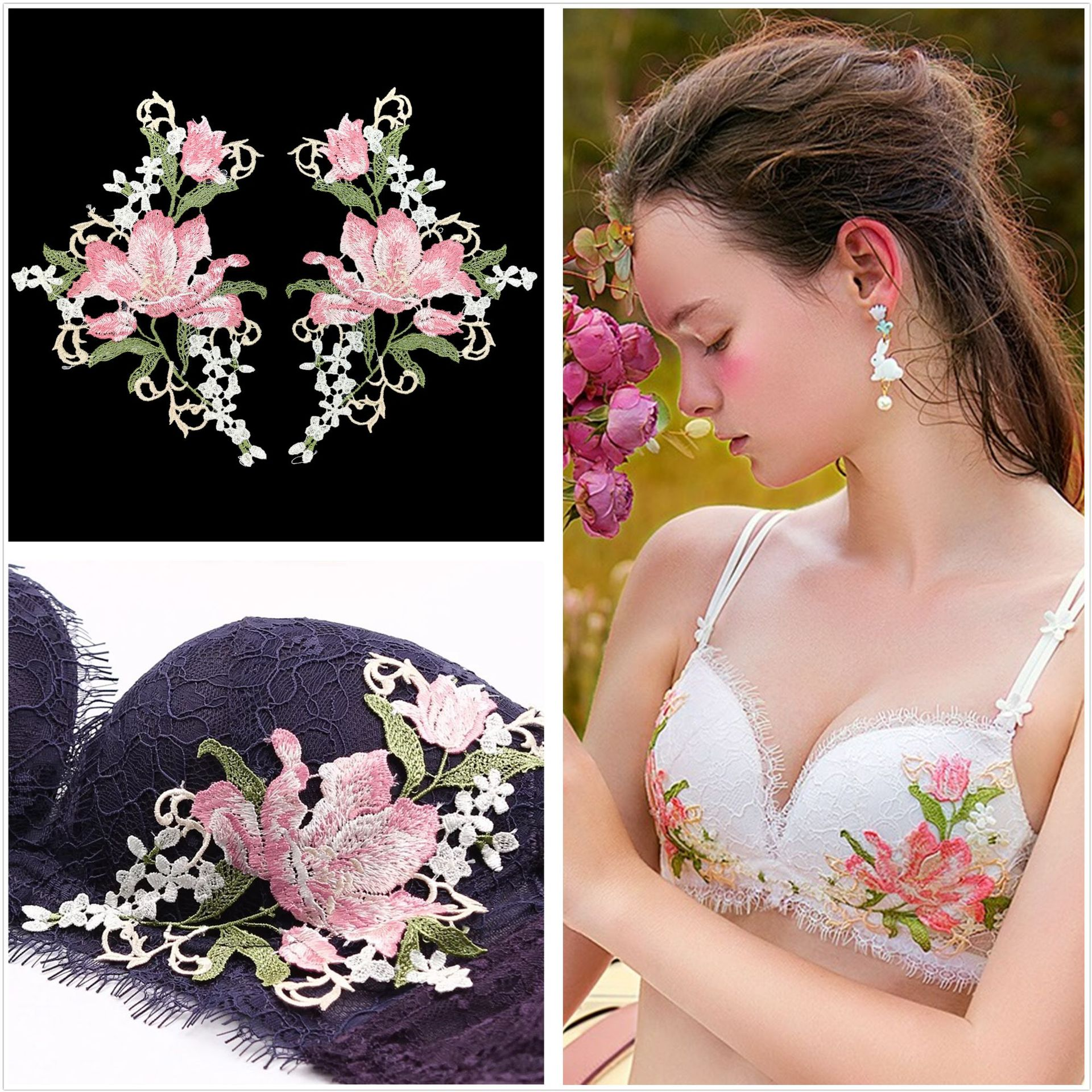 2019 New Fashion DIY Applique Embroidery Applique Costume Decoration Dimensional Bra Patch Water-soluble