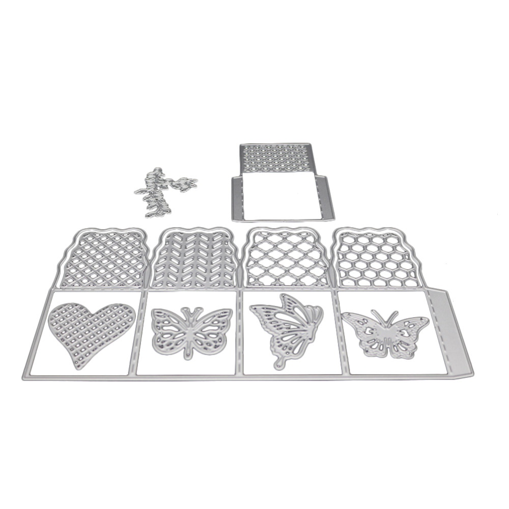 scrapbooking butterfly lattice love shape Metal steel cutting openwork animal Cube box shape Book photo album art card Die cut