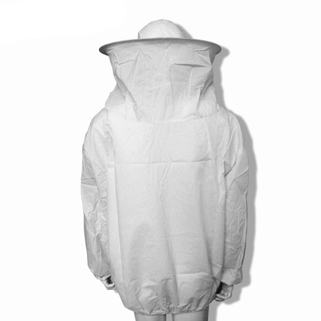 High Quality White Protective Beekeeping Jacket Veil Dress With Hat Equip Suit Smock Free Shippingd40