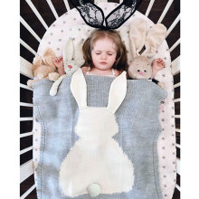Baby Blanket Cute Rabbit Blanket Soft Warm Wool Swaddle Cute Absorbent Kids Bath Towel~
